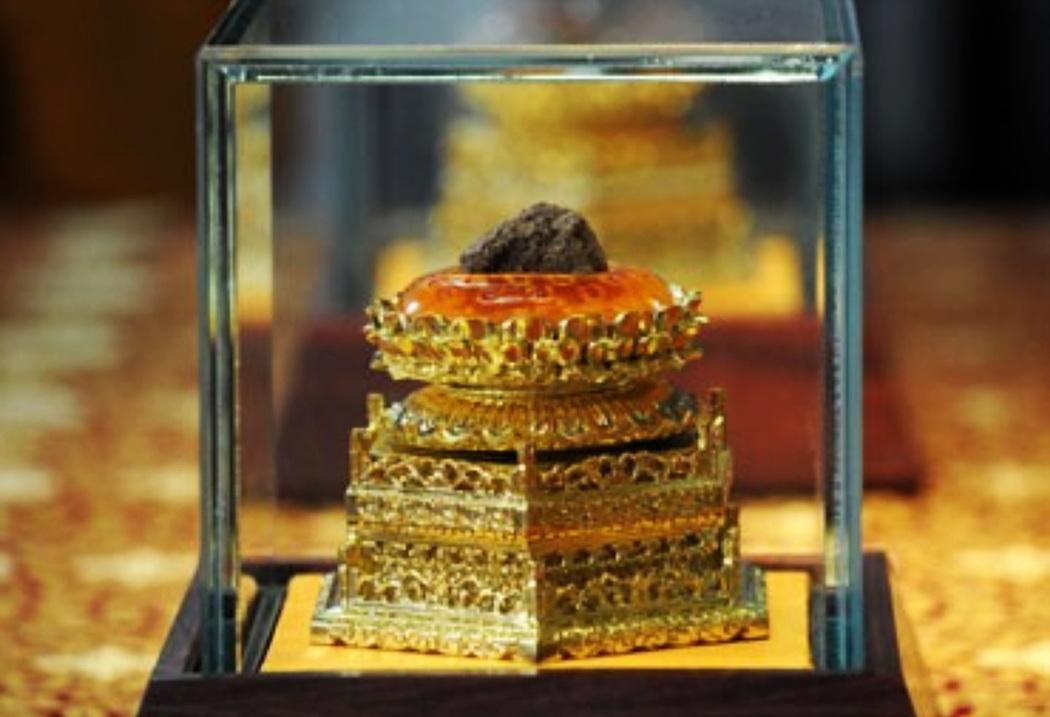 ▲지하6층 사리장궁에 모셔진 부처님 정골사리는 2008년 대보은사 유적지에서 발굴작업중 발견됐다.