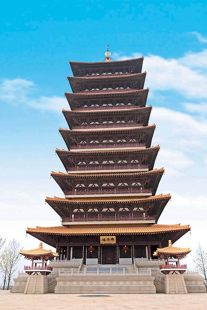 ▲당나라 때 건축된 9급 4면의 높이 88m 불정탑